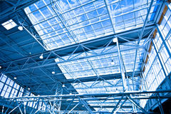 Blue unusual geometric ceiling Stock Photo