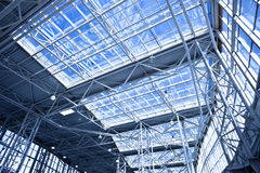 Blue unusual geometric ceiling Stock Photography