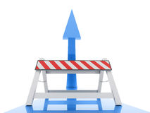 Blue up arrow with road barrier Royalty Free Stock Photography