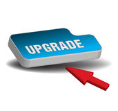 Blue upgrade button Stock Images