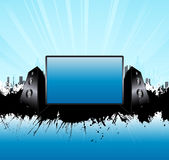 Blue urban skyline music speakers board. Vector illustration of a music speakers urban splatter background with glowing skyline and central monitor board for Stock Image