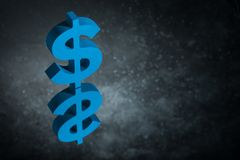 Blue US Currency Symbol or Sign With Mirror Reflection on Dark Dusty Background stock photos