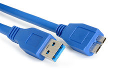 Blue usb 3.0 cable with micro B connector Stock Images