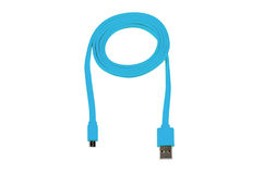 Blue usb-cable micro usb isolated Royalty Free Stock Photos
