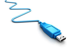 Blue usb cable on white background Stock Images