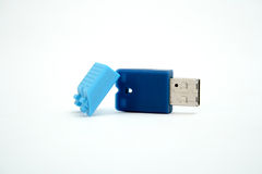 Blue USB flash drive Royalty Free Stock Images