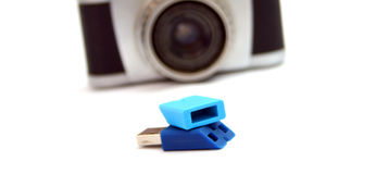 Blue USB flash drive Royalty Free Stock Photos
