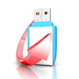 Blue USB pen flash drive with red arrow Royalty Free Stock Photos