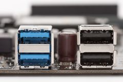 Blue USB 3.0 ports and black USB 2.0 ports on motherboard for  P. Blue USB 3.0 ports and black USB 2.0 ports on motherboard for PC Stock Images