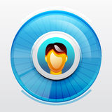 Blue user pic icon Stock Image