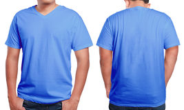 Blue V-Neck shirt design template Royalty Free Stock Photography