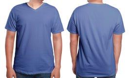 Blue V-Neck shirt design template Stock Photography