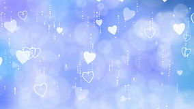 Blue Valentine`s Hearts Background. stock video