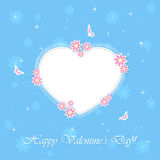 Blue Valentines background with heart. Blue background with Valentines heart, flowers and butterflies, illustration Royalty Free Stock Images
