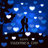 Blue Valentines background with hearts and couple Royalty Free Stock Photo