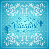Blue Valentines day background with Cupid Stock Photography
