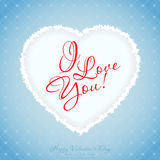 Blue Valentines Day Greeting Card. With Pattern Stock Images