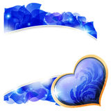 Blue Valentines heart and  petals Royalty Free Stock Photo