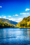 Blue Valley. Blue clear water streamng in a color-full valley Stock Image