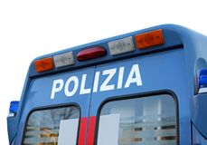 Blue van during a revolt in the square with the text POLIZIA mea Stock Photos