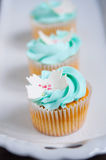 Blue vanilla cupcakes on stand Stock Images