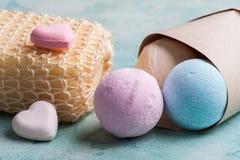 Blue, vanilla and strawberry bath bombs Royalty Free Stock Photography