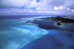 Blue Variation. Bora Bora Island - French Polynesia Royalty Free Stock Photos