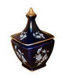 Blue vase with gold Stock Images