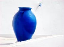 Blue Vase in Santorini Stock Photos