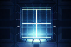 Blue vault, digital security. Abstract blue vault. Digital security concept. 3D Rendering stock illustration