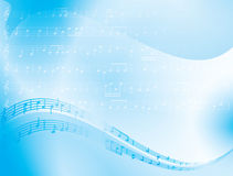 Blue vector abstract background - music notes Stock Photography