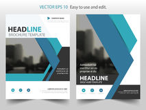 Blue Vector annual report Leaflet Brochure Flyer template design, book cover layout design, abstract business presentation Royalty Free Stock Photography