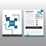 Blue Vector annual report Leaflet Brochure Flyer template design, book cover layout design Royalty Free Stock Photos