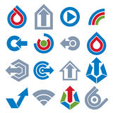 Blue vector app buttons. Collection of arrows, direction icons a. Nd different business corporate graphic symbols Royalty Free Stock Photography
