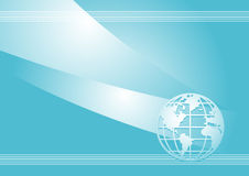 Blue vector background. Horizontal vector background with globe Royalty Free Stock Images