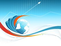 Blue vector background with globe. Eps10 Stock Photography