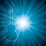 Blue vector background with music notes and guitar - rays stock illustration