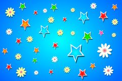 Stars and flowers vector background Royalty Free Stock Photos