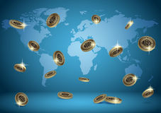 Blue vector background with world map and bitcoins Stock Images