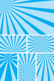 Blue vector backgrounds with radial rays - set Stock Photography