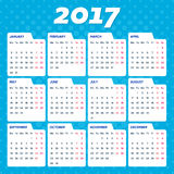 Blue vector 2017 calendar. Weeks start from monday Stock Photo