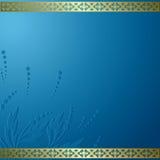 Blue vector card with golden frame  Royalty Free Stock Photos