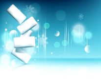 Blue vector.  Chewing gum on background of snowflakes and bokeh. Royalty Free Stock Images
