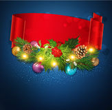 Blue Vector Christmas background with garland,red ribbon, Chris Stock Photo