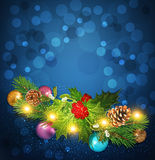 Blue Vector Christmas background with garland Royalty Free Stock Photo