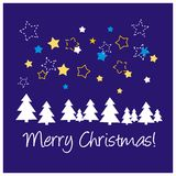 Blue vector Christmas card or invitation. Blue background, vector card or invitation for christmas party with stars, trees and Merry Christmas wishes Royalty Free Stock Photos