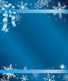 Blue vector christmas card with ribbon Royalty Free Stock Photography