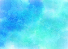 Blue vector clouds background in watercolor style Stock Photo