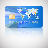 Blue Vector Credit Card Illustration Stock Images