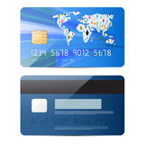 Blue Vector Credit Card Illustration Set Royalty Free Stock Photography